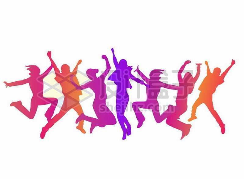 彩色跳跃的年轻人剪影手舞足蹈8413682矢量图片免抠素材