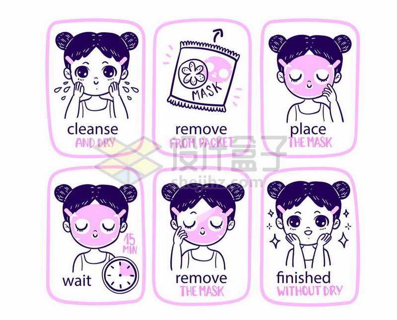 手绘线条卡通女孩洗脸清洁面部敷面膜护肤全程流程图插画4218055矢量图片免抠素材