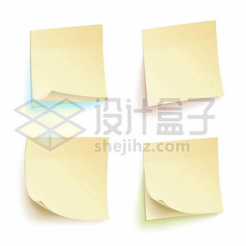 4款黄色的3D立体标签纸便签纸9190450图片免抠素材