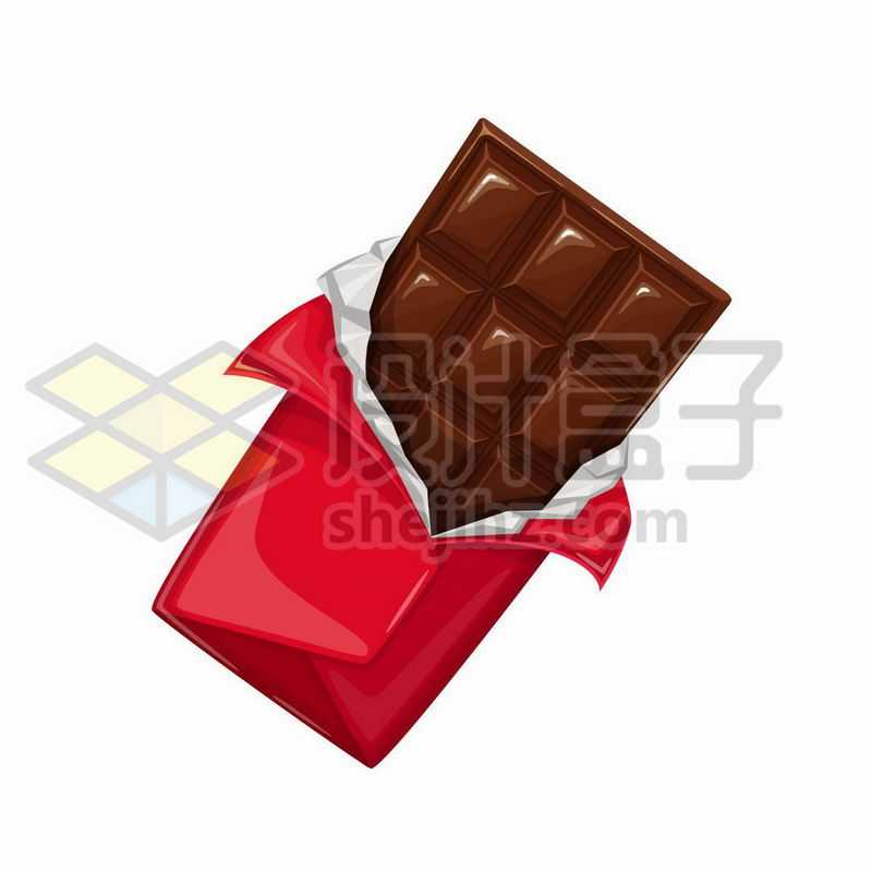 拆开红色包装纸的巧克力美味零食3262502矢量图片免抠素材