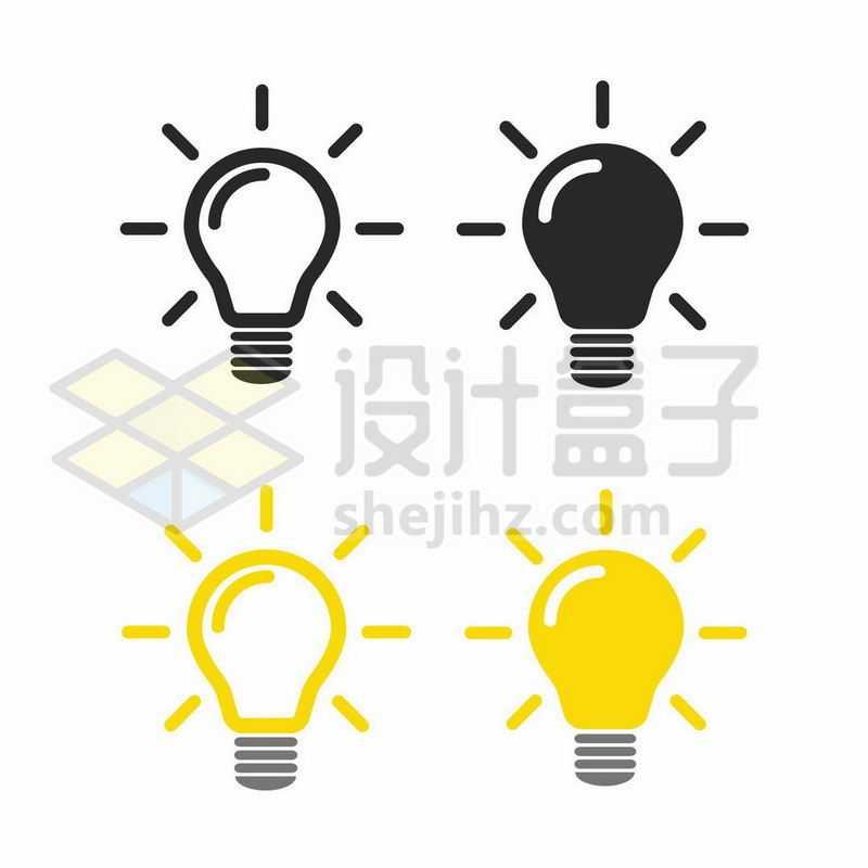 4款深灰色和黄色卡通电灯泡图案3364335图片免抠素材