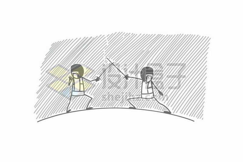 击剑的卡通小人儿手绘涂鸦插画7556770矢量图片免抠素材