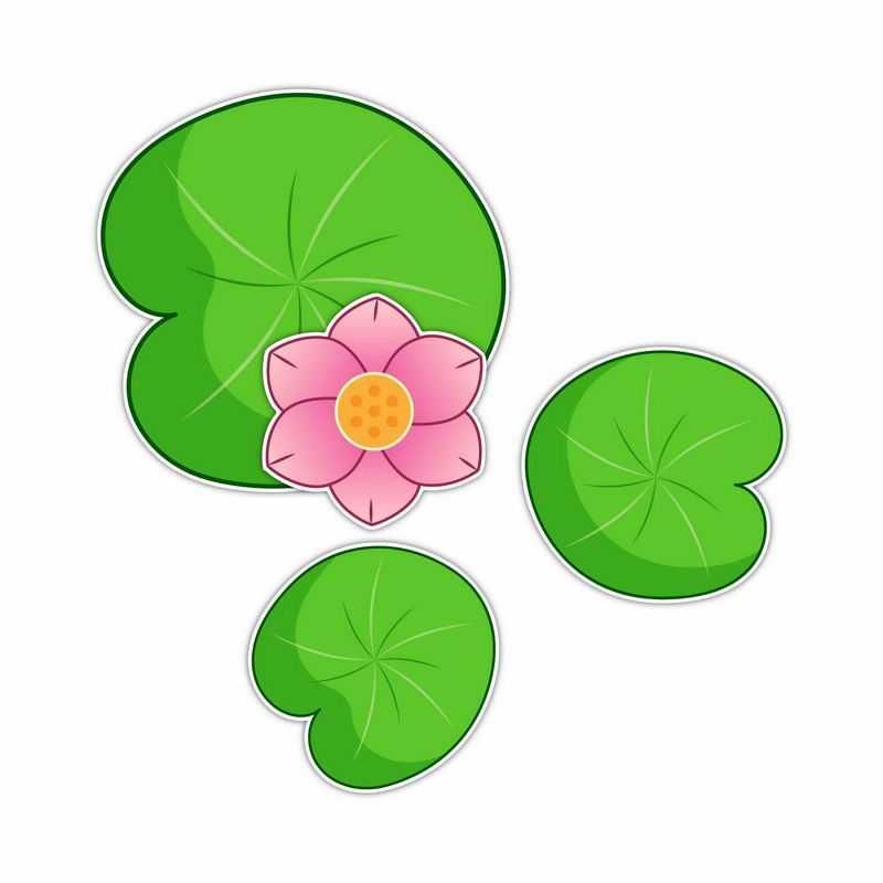 俯视视角的粉红色莲花和绿色莲叶简约插画9362850矢量图片免抠素材