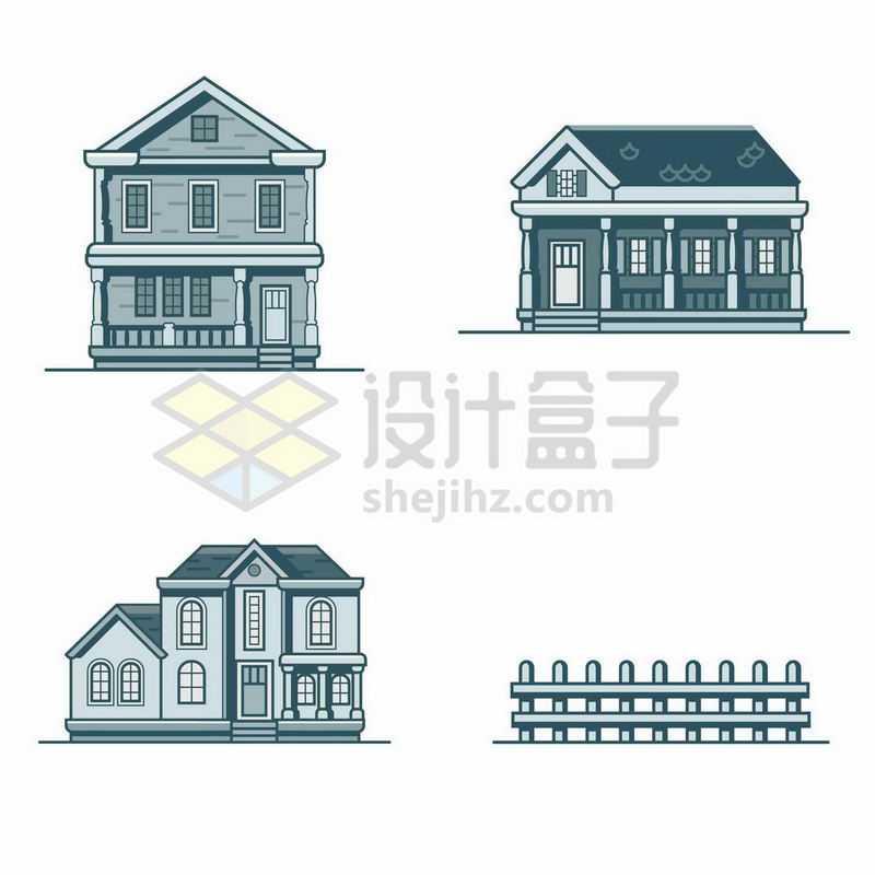 4款单色MBE风格的卡通别墅房子和栅栏8527469矢量图片免抠素材