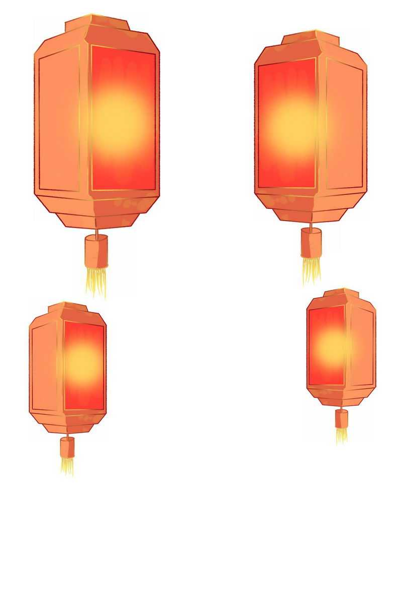方形的红色灯笼手绘插画6231021png图片免抠素材