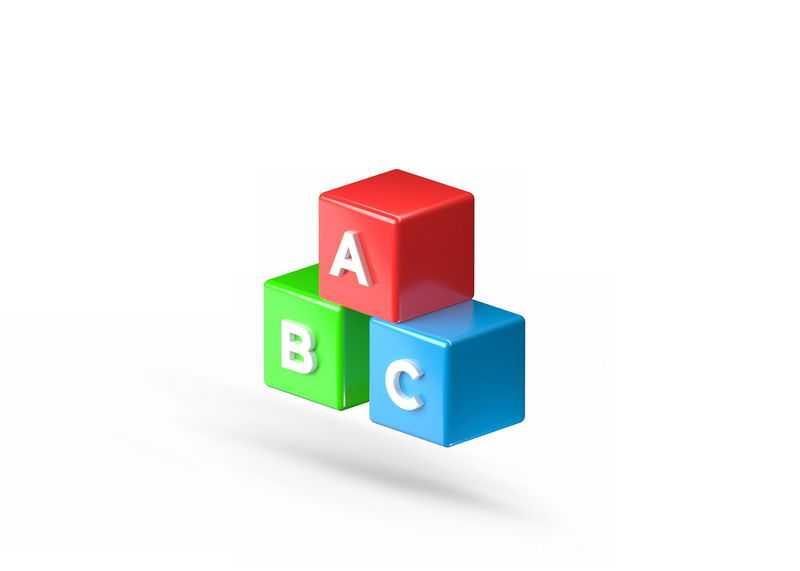 3D风格彩色英语学习道具英文字母方块立方体4606027免抠图片素材