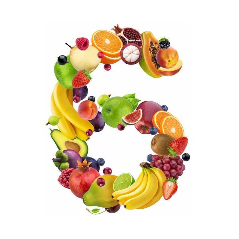 水果组成的数字6梨子橙子山竹石榴木瓜苹果香蕉等3379450免抠图片素材