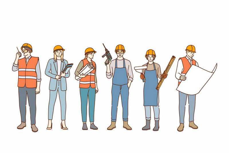 各种手绘风格工程监理施工人员装修工人等人物插画6017384图片免抠素材