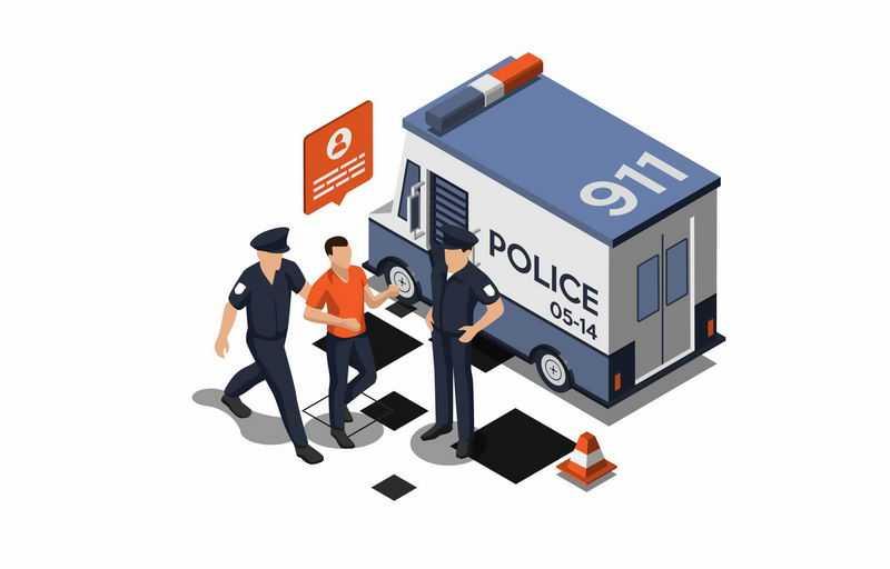 2.5D风格卡通警车警察带着嫌疑犯指认现场1104041图片免抠素材