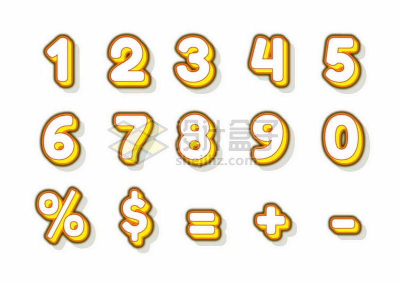 3D立体发光黄色数字字体4849971矢量图片免抠素材 字体素材-第1张
