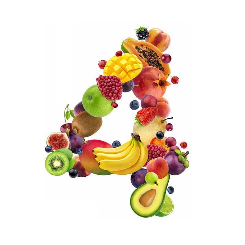水果组成的数字4芒果木瓜山竹牛油果无花果等3533756免抠图片素材