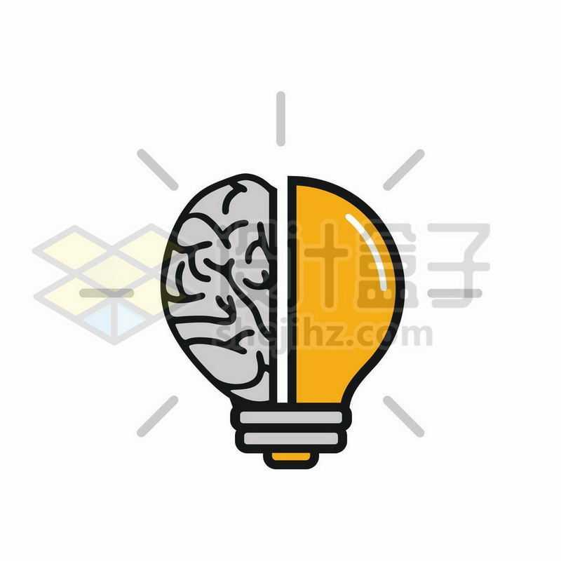 一半大脑一半电灯泡抽象思维7885190图片免抠素材