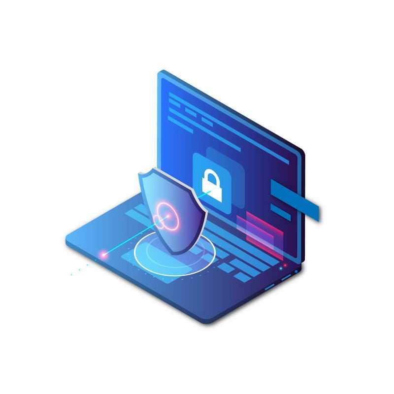 蓝色笔记本电脑上的盾牌和发光光圈象征了手机安全信息安全9402838矢量图片免抠素材