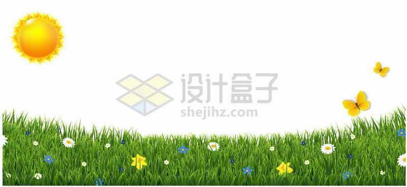 春天太阳下的绿色草地点缀着鲜花和蝴蝶6079494矢量图片免抠素材