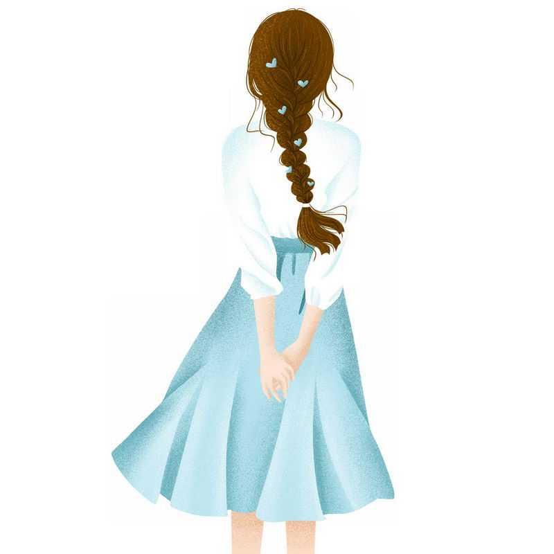 扎着麻花辫白色衬衣的蓝色长裙女孩背影手绘插画1535248png图片免抠素材