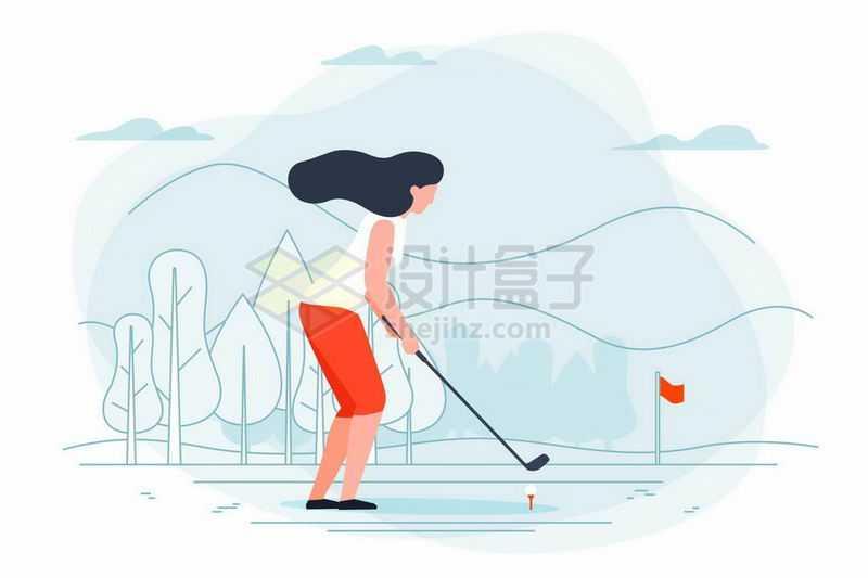 手绘插画风格女人打高尔夫球8750270矢量图片免抠素材