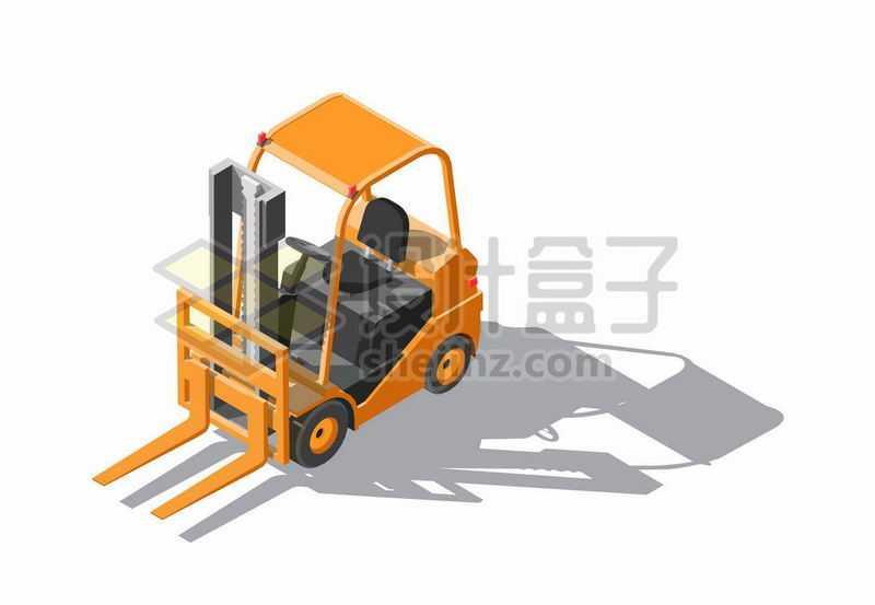 2.5D风格橙色叉车6099086矢量图片免抠素材