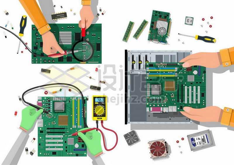 正在维修电脑主板和电路维修电脑5419364矢量图片免抠素材