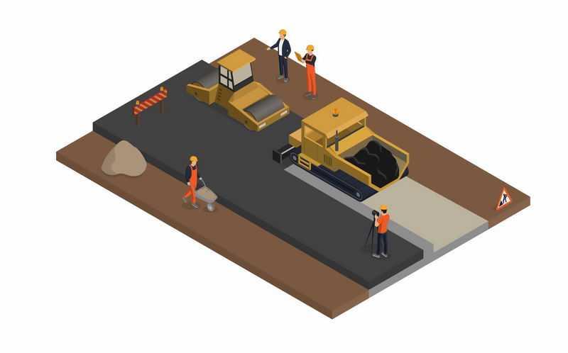 2.5D风格铺路车正在铺设高速公路柏油路施工现场8662792图片免抠素材