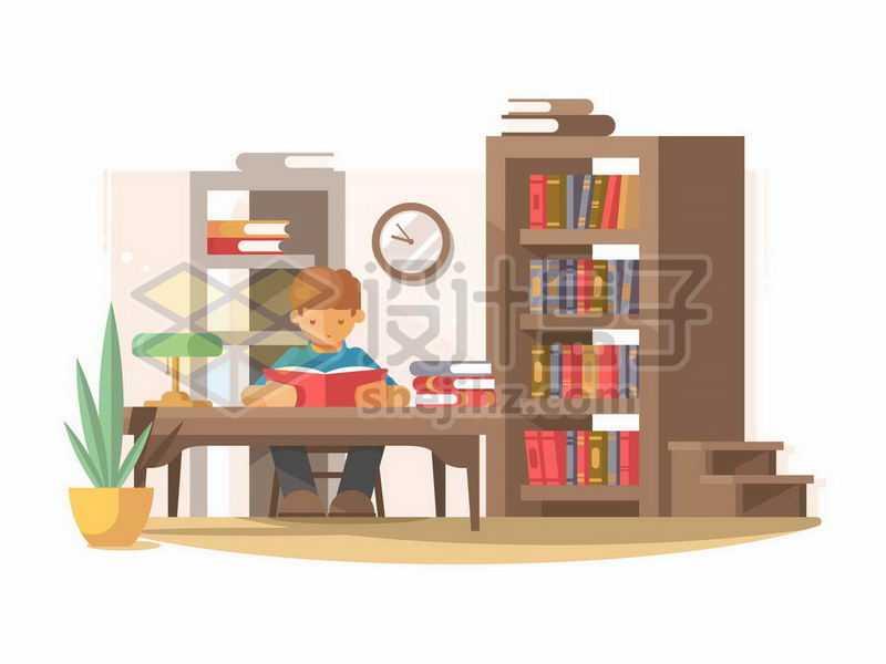 卡通男孩坐在书房里看书7022343矢量图片免抠素材