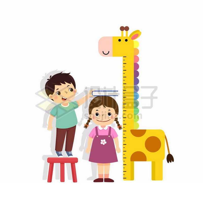 卡通男孩正在为妹妹量身高5595758矢量图片免抠素材