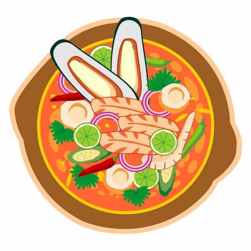 一碗美味的花蛤蟹棒蘑菇海鲜酸辣汤美食2367901矢量图片免抠素材