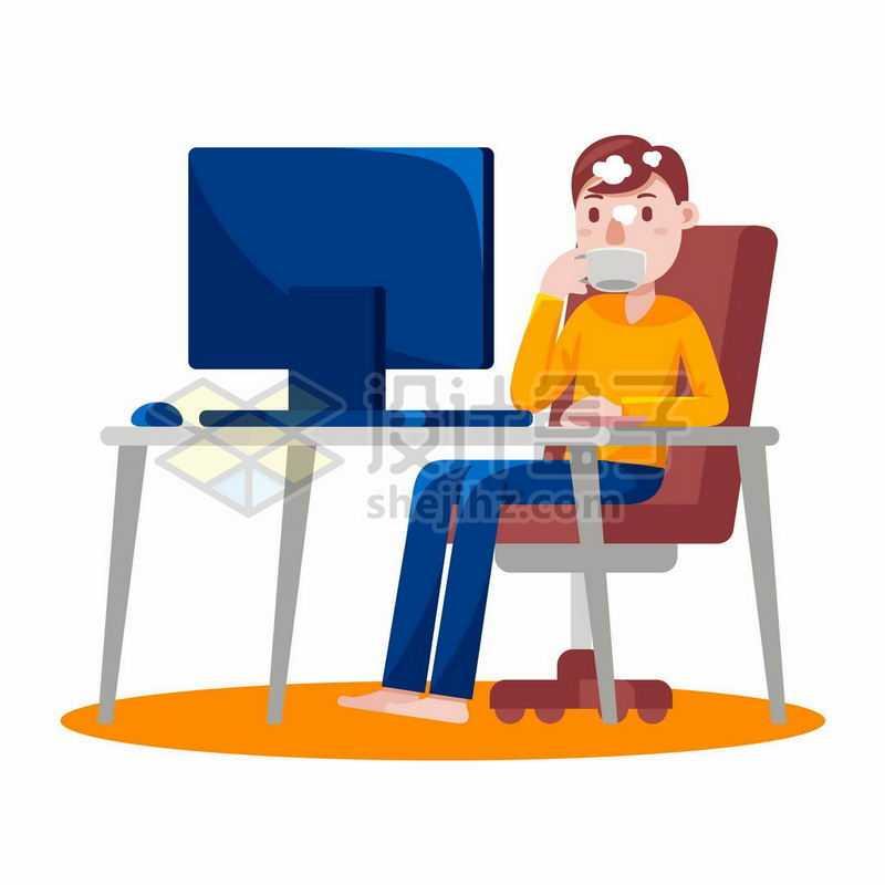 卡通男人上班工作时坐在电脑前休息喝咖啡4217336矢量图片免抠素材