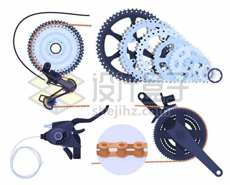 变速自行车的齿轮盘链条和刹车系统1132061矢量图片免抠素材