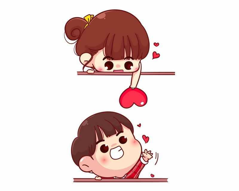 超可爱的卡通女生和男生情侣和红心情人节插画2755598图片免抠素材