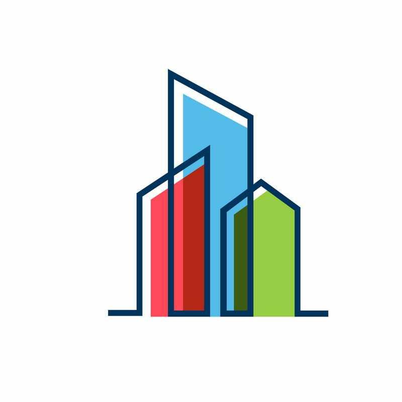 线条和色块组成的城市建筑logo设计方案4402728图片免抠素材