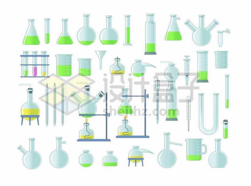 锥形瓶试管烧杯蒸馏烧瓶等化学实验仪器9056740矢量图片免抠素材