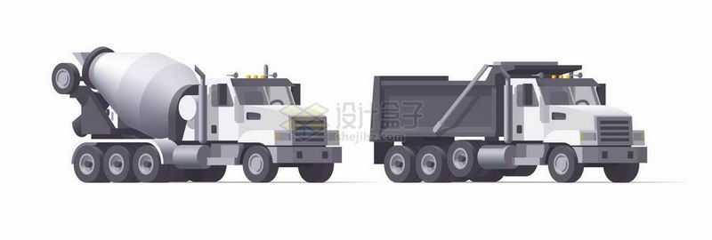 卡通水泥车和自卸卡车侧面图5809203矢量图片免抠素材