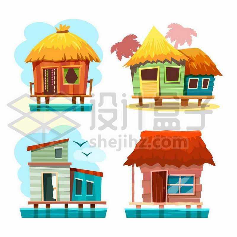 4款卡通风格小木屋1597641矢量图片免抠素材