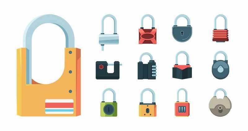 13款扁平化风格挂锁门锁4015401图片免抠素材