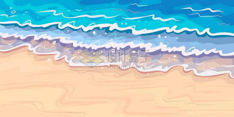 海滩沙滩上的浪花海浪小清新漫画背景图1020817矢量图片素材 背景-第1张