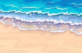 海滩沙滩上的浪花海浪小清新漫画背景图1020817矢量图片素材