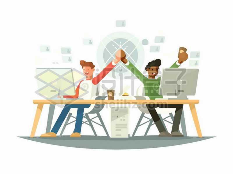 两个程序员坐在电脑前庆祝成功9520336矢量图片免抠素材