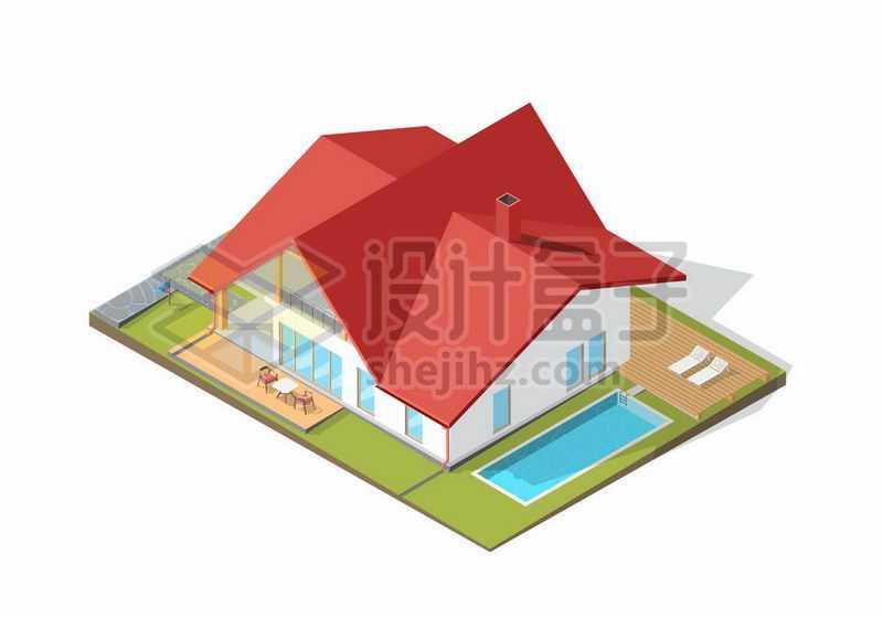 2.5D风格红顶房子度假酒店别墅带泳池9669682矢量图片免抠素材