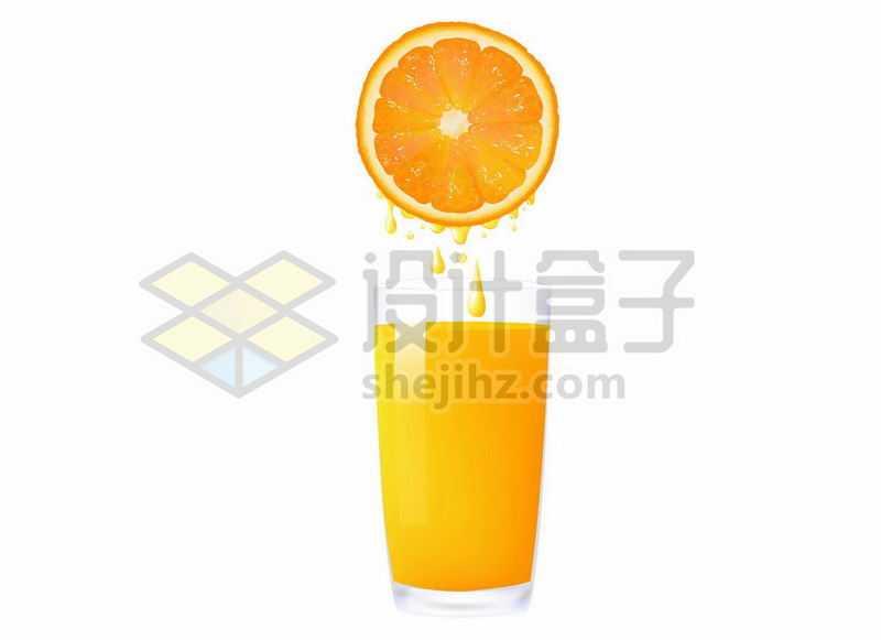 被挤压的橙子和一杯橙汁美味果汁4044319矢量图片免抠素材