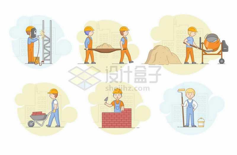 卡通电焊工建筑工人正在使用搅拌机砌砖墙和粉刷墙壁等操作5067875矢量图片免抠素材