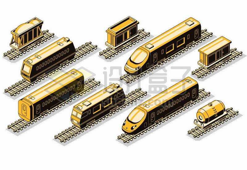2.5D风格火车高铁火车站货运火车8584065矢量图片免抠素材
