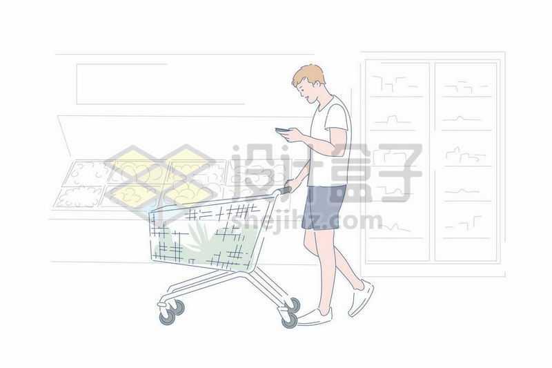 超市里推着购物车的年轻人边看手机手绘插画1079702矢量图片免抠素材