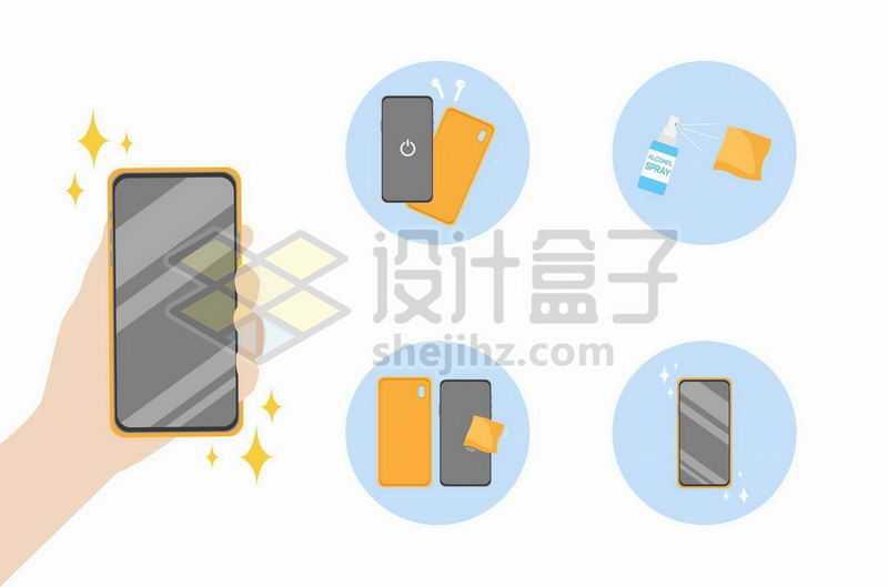 手机屏幕清洁步骤图4018588矢量图片免抠素材