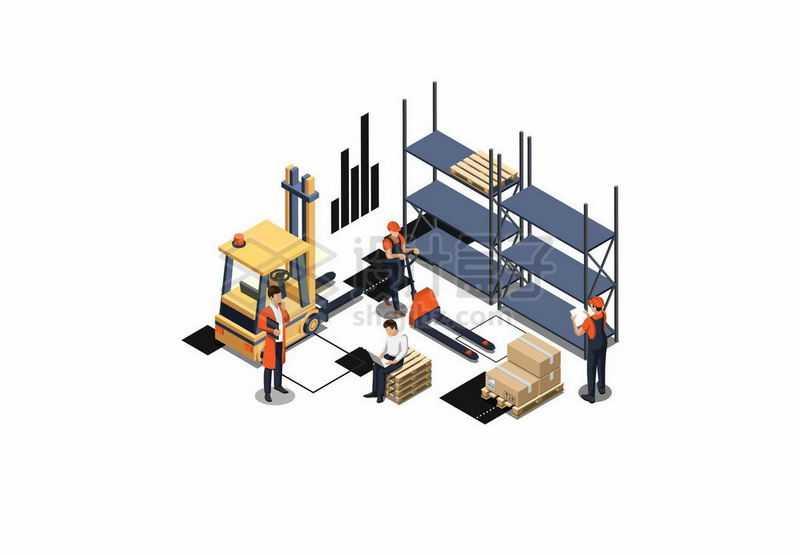 2.5D风格叉车和货架上的货物9609245矢量图片免抠素材