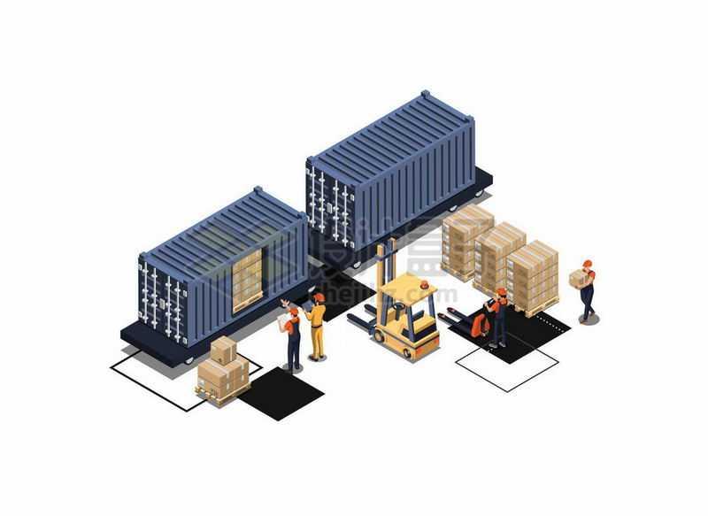 2.5D风格两个集装箱以及叉车和货物6868760矢量图片免抠素材