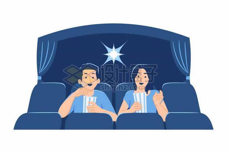 情侣坐在电影院中看电影卡通插画5192498矢量图片免抠素材