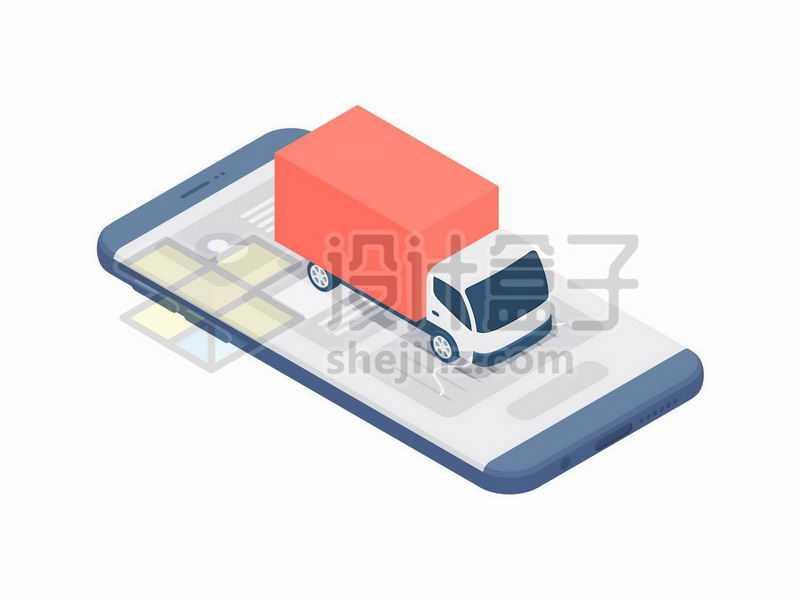 2.5D风格手机上的货运卡车象征了货拉拉等货运APP7832915矢量图片免抠素材