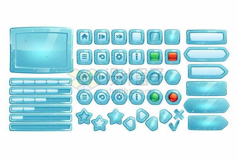 各种蓝色水晶冰块风格游戏边框元素4037468矢量图片免抠素材