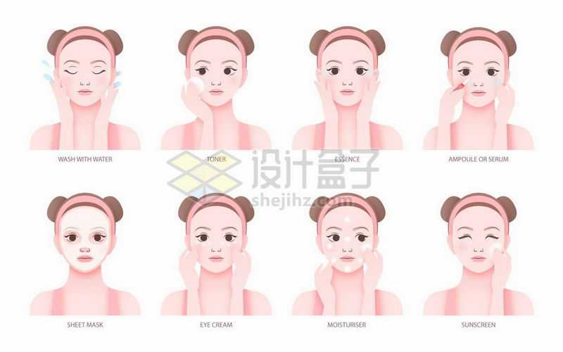 漂亮的女孩清洁面部敷面膜护肤全程流程图插画2144839矢量图片免抠素材