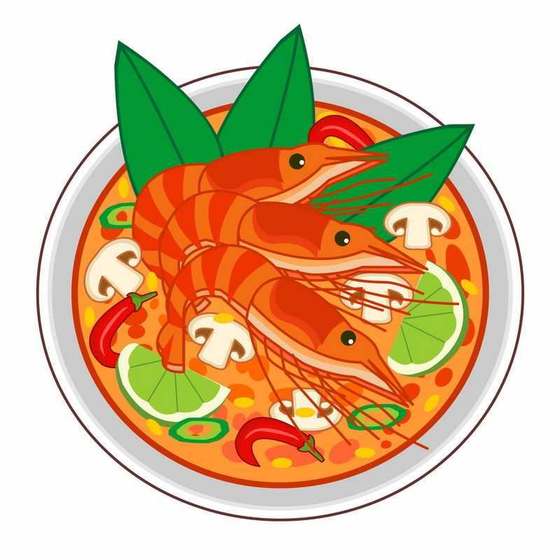 一碗大虾酸辣蘑菇海鲜汤手绘美食4358871矢量图片免抠素材